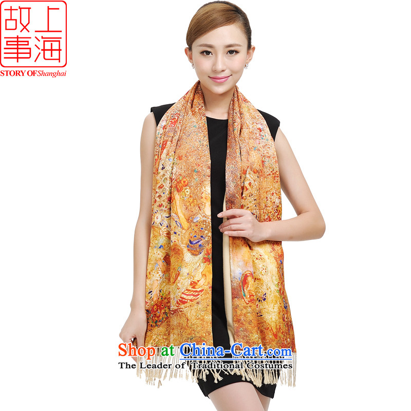 Shanghai Story emulation silk shawls brushed 2014 autumn and winter Ms. new two-sided scarf digital fabric cotton shawl 177024 shined brilliantly