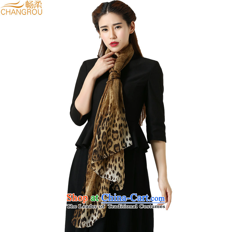Cheong Sophie autumn and winter herbs extract new Leopard gradient Ms. suit silk long silk scarf western wild fancy scarf SJ0019 a leopard of coffee