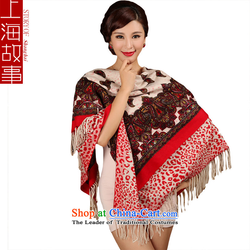 Shanghai Story Coarse wool spinning wool scarves, classy and towel autumn and winter large Red Shawl