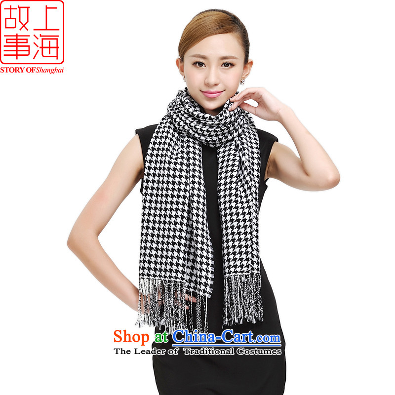 Shanghai Story couples fleece scarf autumn and winter new unisex chidori grid warm wool 177031 Black and White