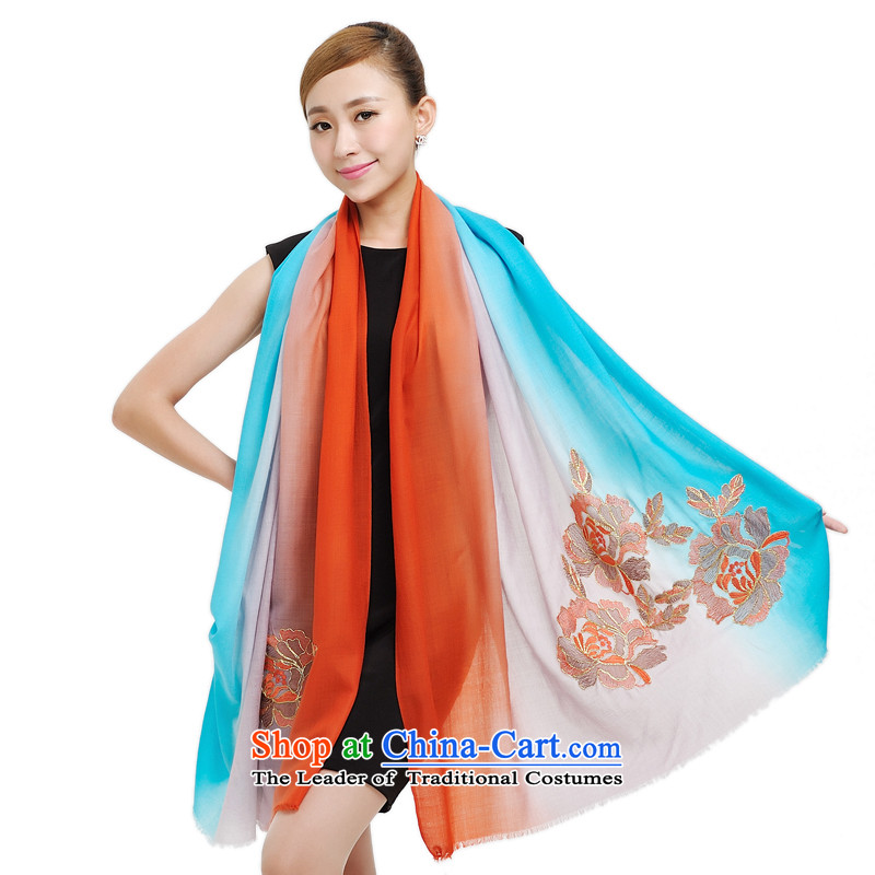 Shanghai Story scarves women oversize 2080x850mm wool warm winter shawl embroidered scarf 177040 New Blue orange