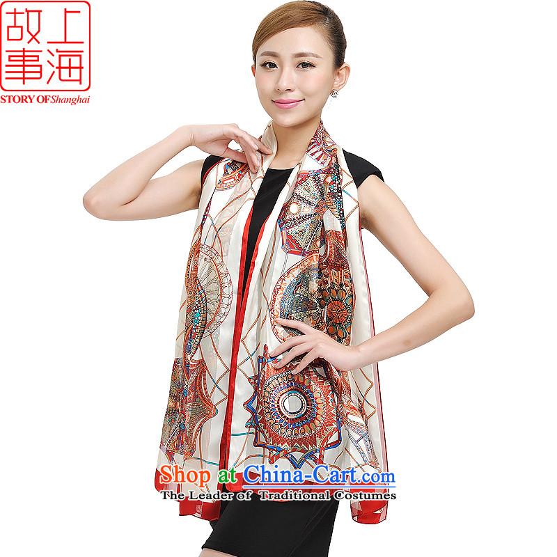 Shanghai Story sunscreen lush silk scarf silk satin purple mists scarf 100% Ms. herbs extract wild satin sunscreen long silk scarf 177043 Orange Pink