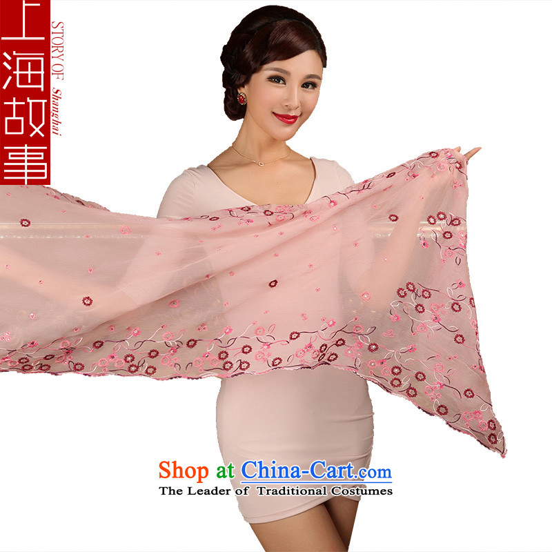 Shanghai Story silk scarves, embroidery Fancy Scarf included incense nectar Pink