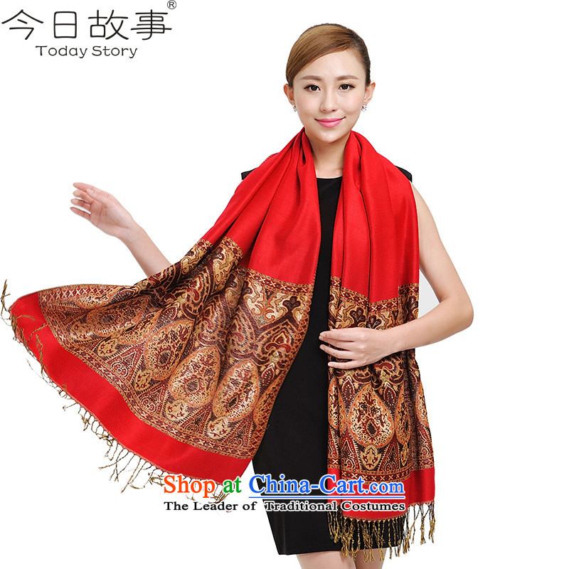 Today story autumn and winter Fancy Scarf two with women retro sheikhs wind warm soft cotton linen large scarfJ4103ethnic atmosphere - Red