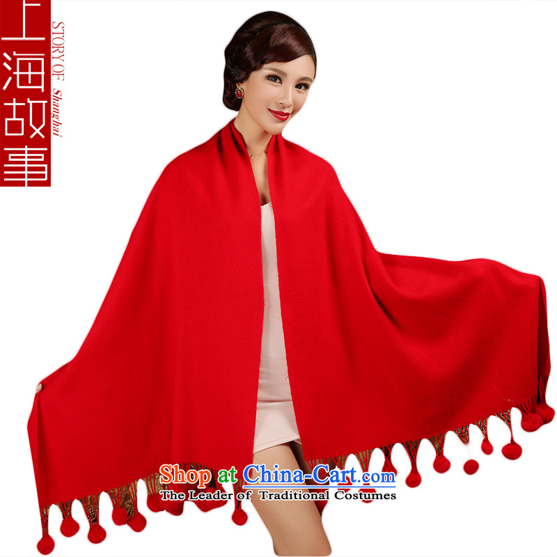 Shanghai Story, rabbit hair ball autumn and winter wool Fancy Scarf Red