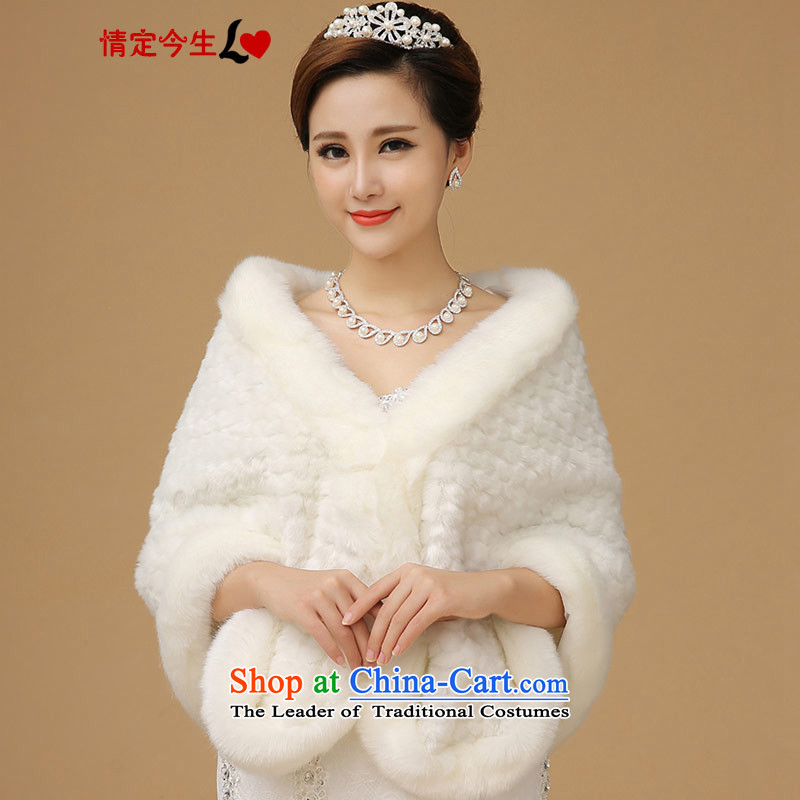 Love of the overcharged thick Warm White Edges wedding dresses wild shawl cheongsam dress jacket bridesmaid services