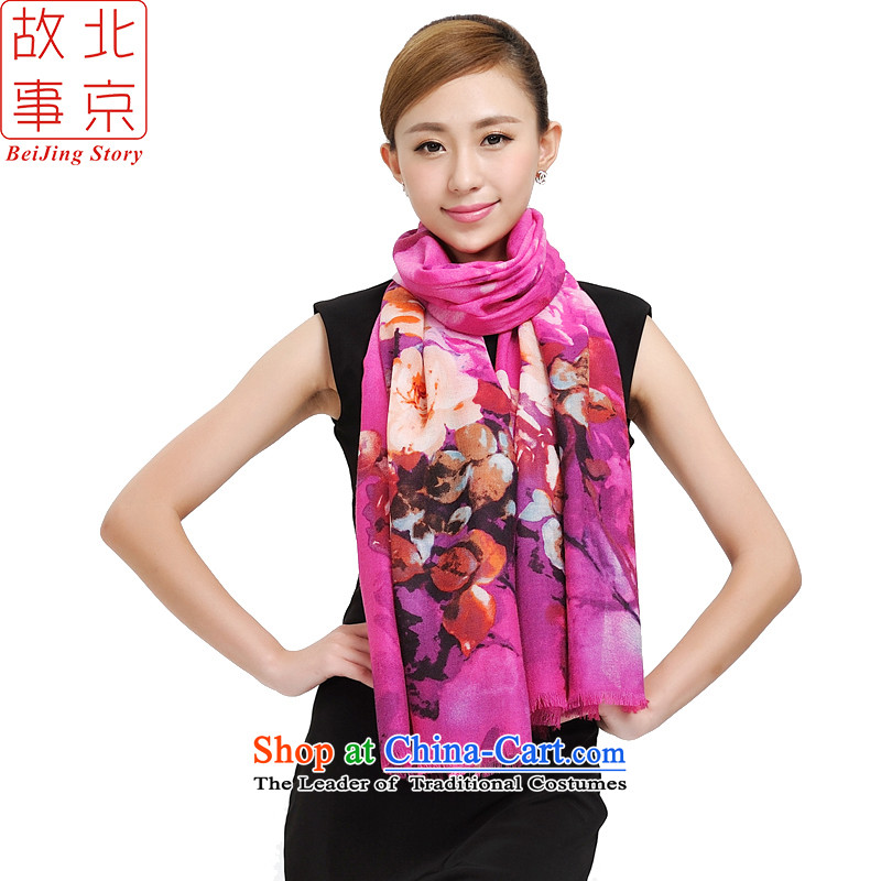 Beijing Pure Wool encryption scarves story, autumn and winter and a new ultra shawl floral art grew up wool quilts 177016 a better red