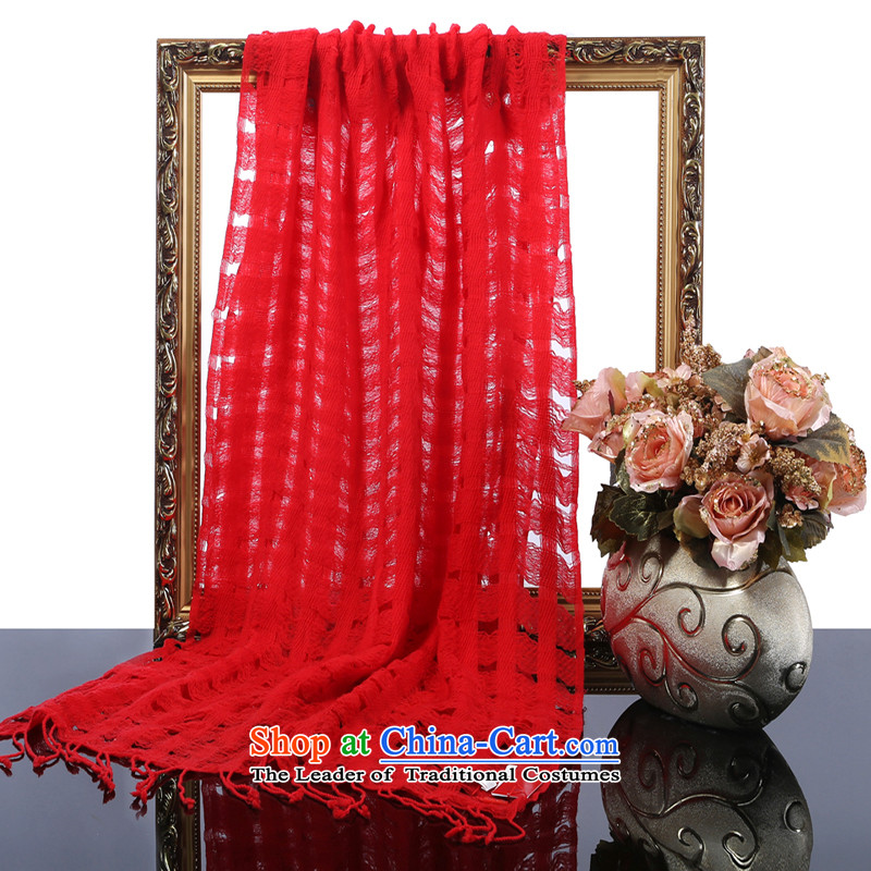 Hengyuan Cheung 2015 autumn and winter new merino wool long scarf women fine engraving large solid color air-conditioning shawl gift packs big red