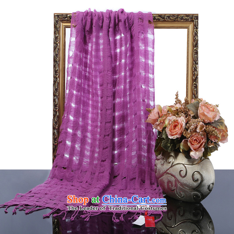 Hengyuan Cheung 2015 autumn and winter new merino wool long scarf women fine engraving large solid color air-conditioning shawl gift boxed Purple
