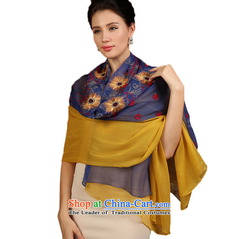A picture of the 2014 autumn m new high-end silk scarves herbs extract embroidery scarves with incense irrepressible blue