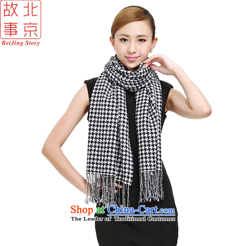 Beijing story autumn and winter New Pure Wool scarves couples, Chidori. Double-dyed woolen shawl scarf long warm 177031 a thick black and white