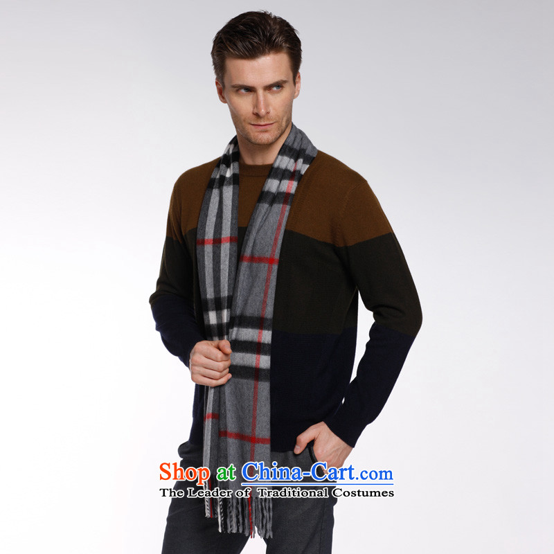 Ling Yu Pure cashmere men pashmina of autumn and winter thick couples grid Korean long cashmere a package mail325608Gray