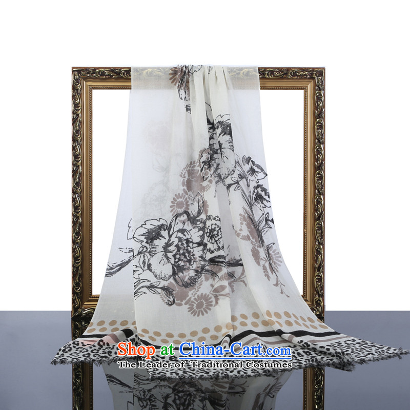 Hang Yuen Cheung-cashmere twill stamp Leopard Stamp Ms. long scarf business gift boxed rice white stamp