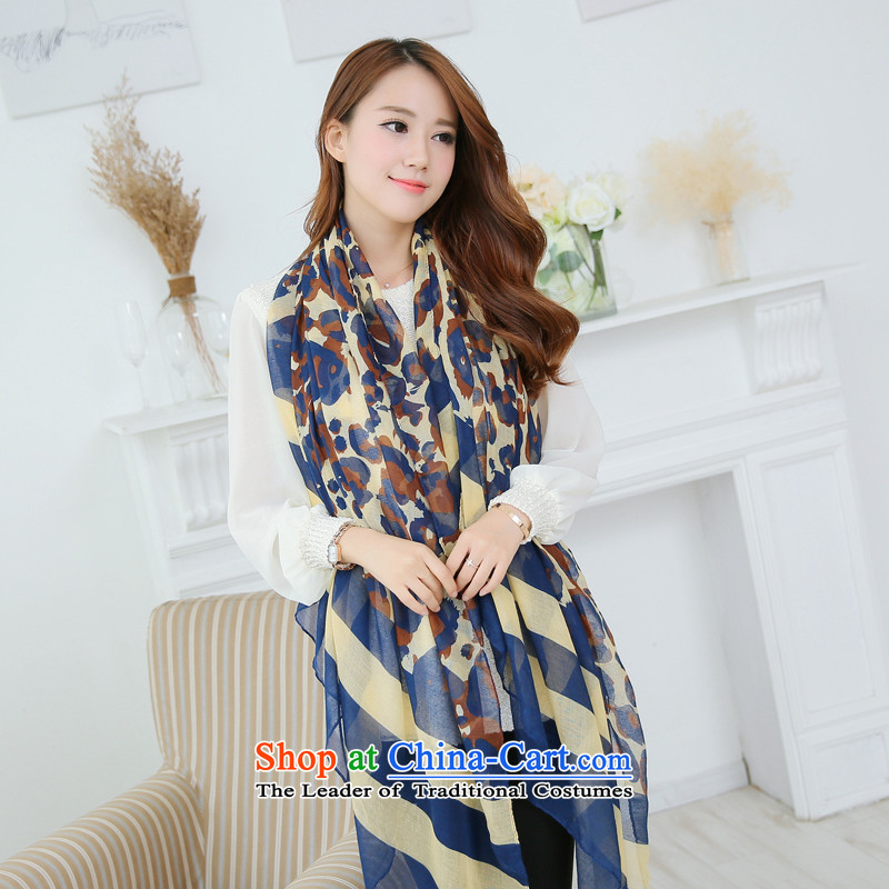 The World Card 2015 HIV new women's color leopard point streaks knocked long scarf autumn and winter warm and stylish name2 maximum wind-small shawl scarf two with blue