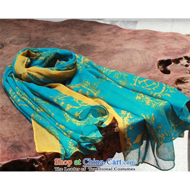 The new silk scarf female autumn and winter wind scarf retro carriage H stamp scarf retro carriage pattern Sky Blue