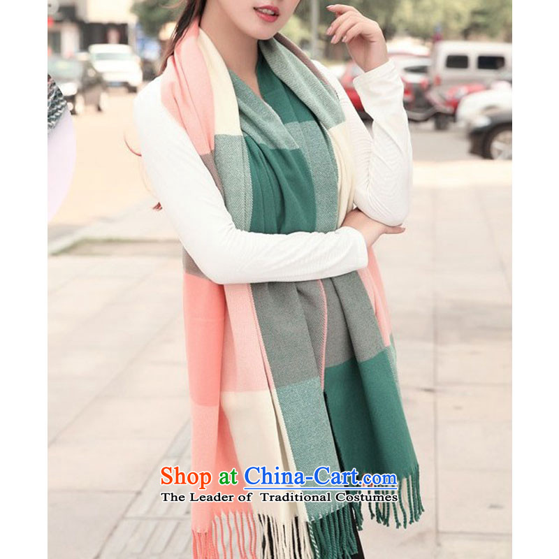 The 2014 autumn and winter new Korean long shawl scarves, Sleek and versatile Wai Shing knitting knitting latticed warm light green shawl Grid