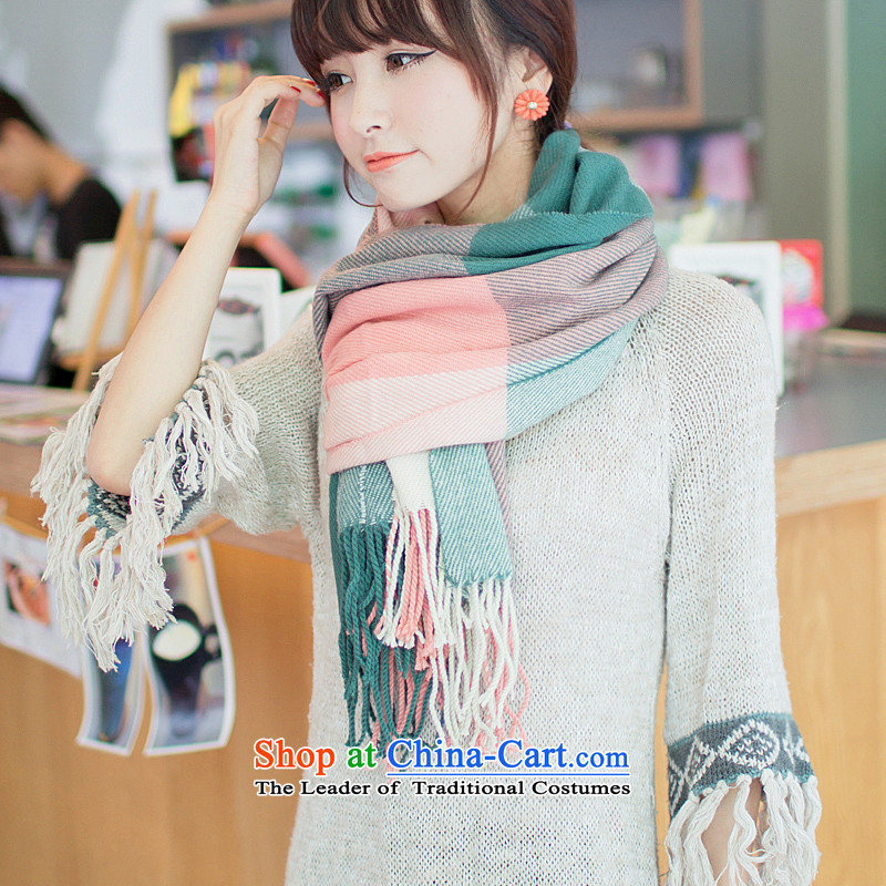 Ms. scarves autumn and winter new grid warm thick shawl Korean long) Knitting emulation cashmere wild a Green Grid