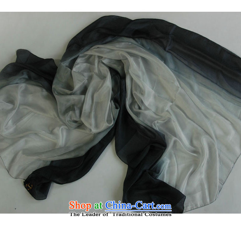Sauna workshops of silk CHEGEE Ms. silk scarf gradient shawl black and white gradient