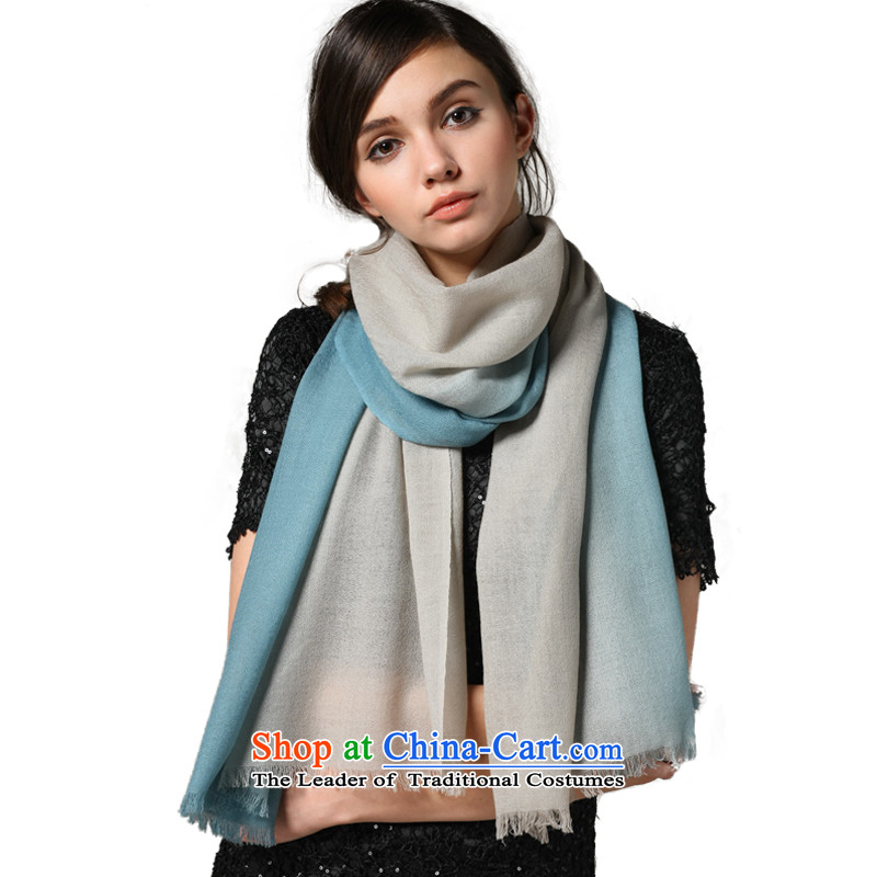 Wooler scarf shawl CHEGEE gradient to the edge of the girl warm m Blue gradient