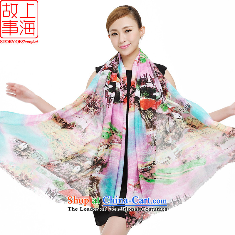 Shanghai Story Stylish spring and autumn scarf Ms. extralong digital poster large shawl scarf leisure wild sunscreen silk scarf beach towel 177046 Pink