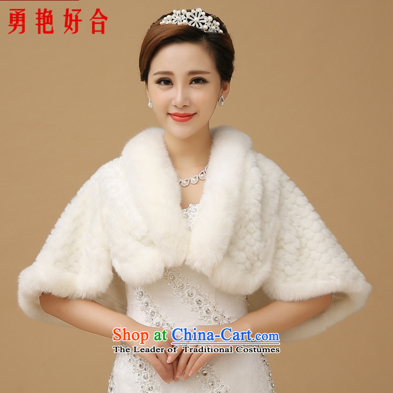Yong-yeon and 2015 winter new wedding gross shawl bride wedding at shoulder warm marriage bridesmaid dress shawl White