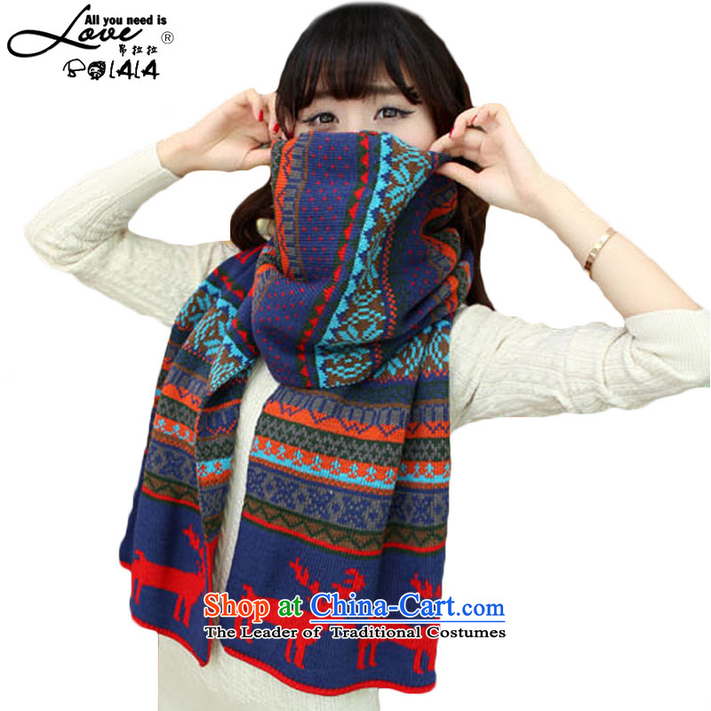 8LA (BOLALA) autumn and winter new Korean stitching color Autumn and Winter Sweater a long thick warm double-sided with Sorok female scarf navy spell color Sorok