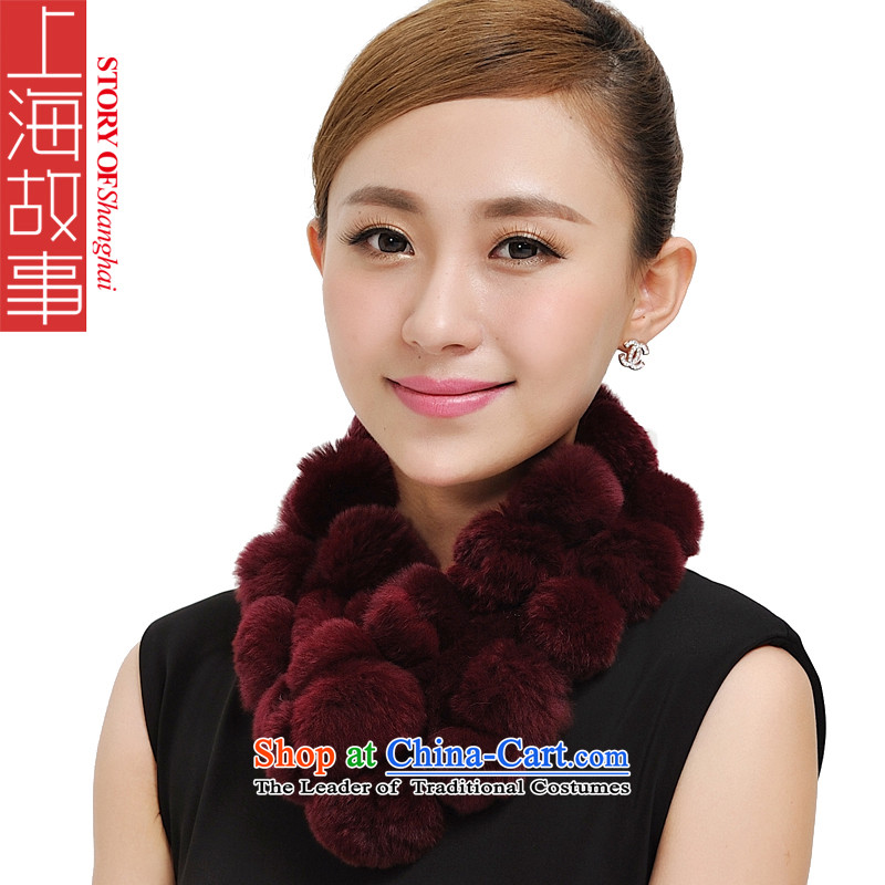 Shanghai Story a rabbit hair fall and winter Ms. new warm, rabbit hair a scarf Korean 28 rabbit hair ball fur 177033 177033 a wine red