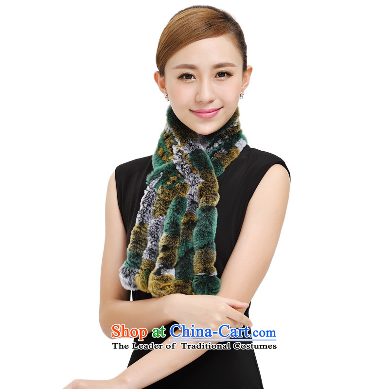Shanghai Story rabbit hair scarf autumn and winter the new president and the process of seven rainbow fur a Korean version of grass wild stylish warm scarf 177034 Yellow Green