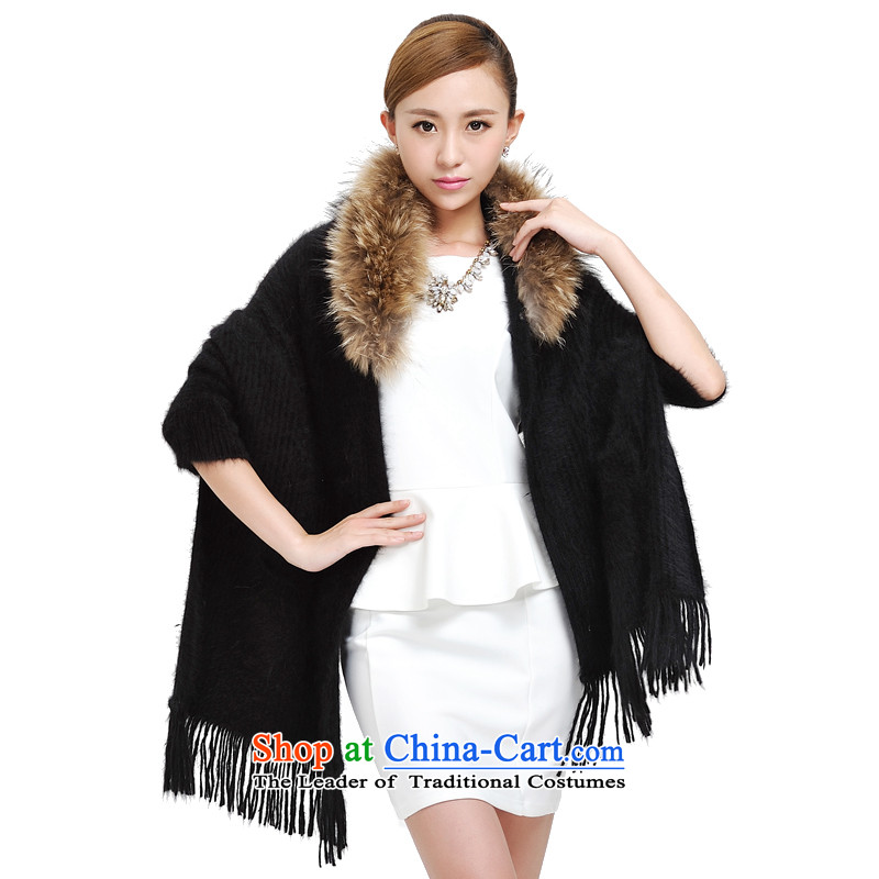 Shanghai Story fur shawl autumn and winter new rabbit woolen shawl warm Western big large campaign for the rich shawl sub Maomao 177036 Black