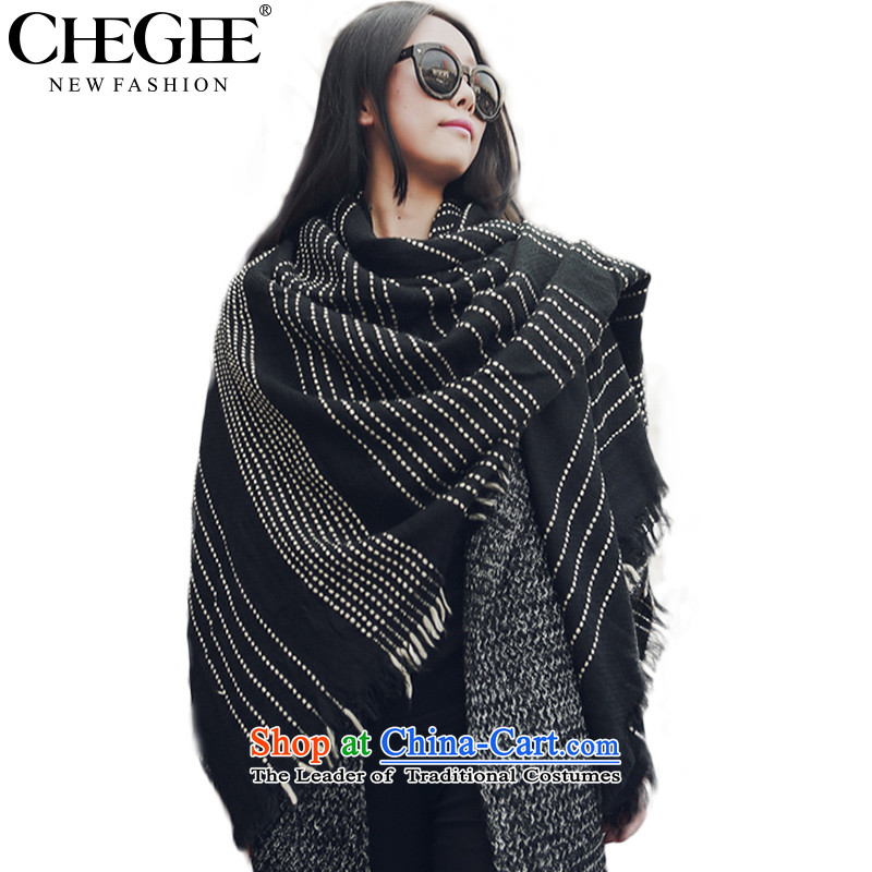 Chegee autumn and winter the new president of the scarf western van emulation cashmere knitted cardigans warm sweater Thick Long Su black