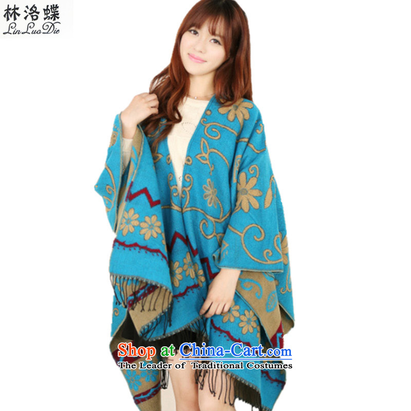 Lin, Butterfly Chang Yu Yee of the same nationality in the autumn and winter of the forklift truck traveling photo shawl warm air-conditioning shawl scarf pros and cons thickened the Available Emulators cashmere cloak Chang Yu Yee-blue