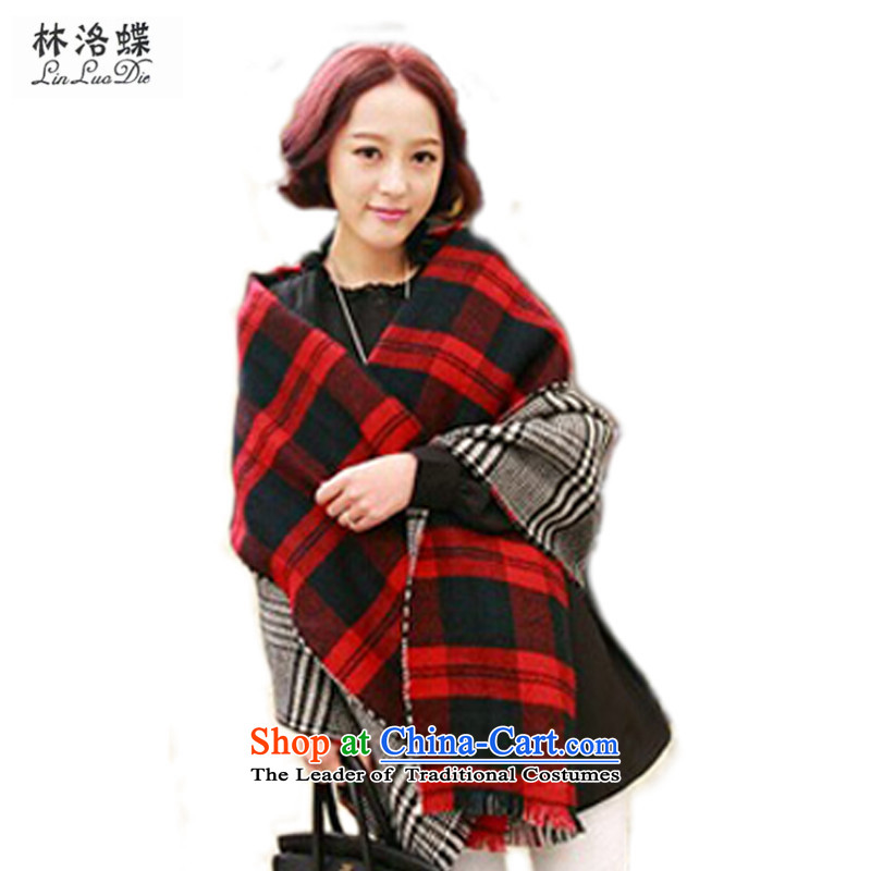 Lam Wing of the Korean chidori grid scarf female extension thick Fall Winter rough edges greater duplex Ms. latticed emulation _pashmina shawl, autumn and winter warm scarf duplex Fancy Scarf