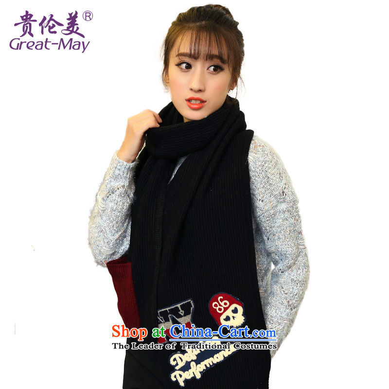 The end of the scarf Korean GREATMA winter stylish men and women a NY letters knitting Fall Winter thick warm sweater scarf WJ0076 female black Classic