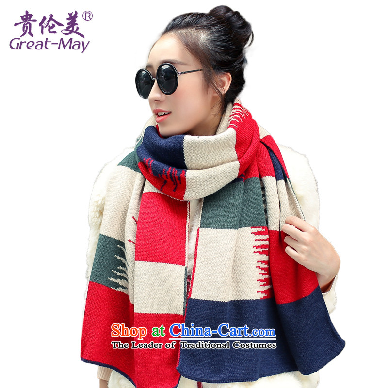 Knitting scarves female autumn GREATMAY winter Korean Color Knitting scarves knocked long widened Ms. warm shawl a green and red m green WJ0081