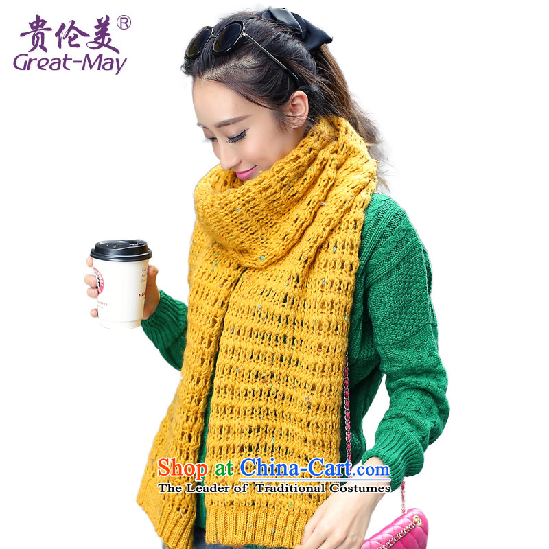 The end of the scarf girls Fall Winter GREATMAY Korean engraving Knitting scarves ultra-wide Mohair Knitting scarves Ms. warm WJ0072D understated Turmeric