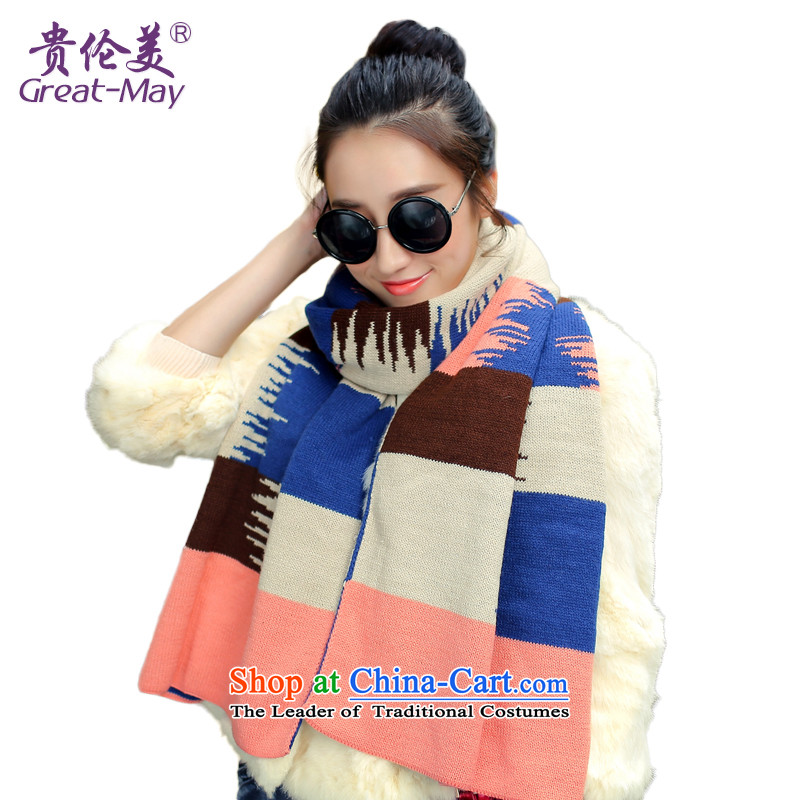 Knitting scarves female Korean autumn winter color Knitting scarves knocked long widened Ms. warm shawl a blue m curry WJ0081