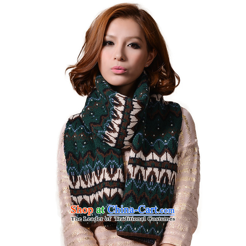 No. (glovin) style autumn and winter storm waves of national streaks jacquard knitting full trade emulation Cashmere scarf Women warm thick green are code
