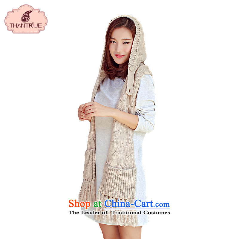 Enjoy a Korean version of true thantrue Knitting scarves with cap autumn and winter long warm shawl, one a W230 Khaki