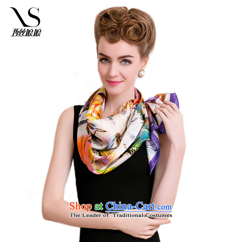The population of the west in summer and autumn Hau New herbs extract genuine silk scarves, China ink and classy towel Fancy Scarf 306 E-color