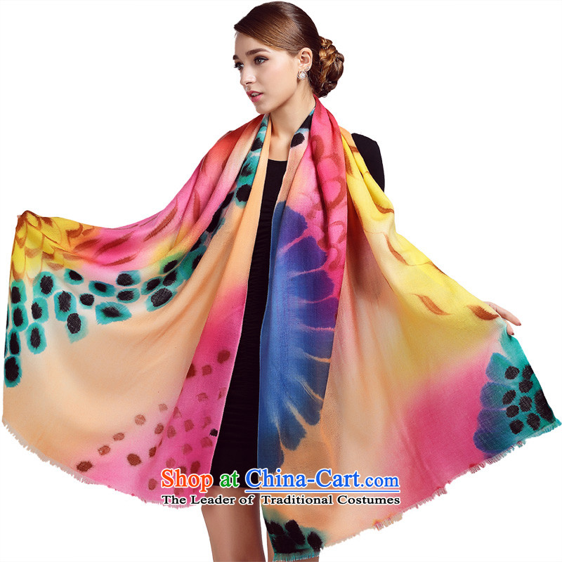 Ho Shih rain Ms. wooler scarf autumn and winter hand-painted 80 Australian long shawl LSY750001 birds of the Spirit