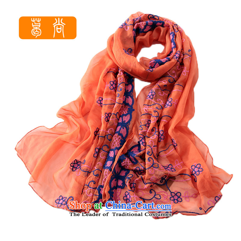 Ge Sang The2014 autumn and winter New Silk Scarf Ms. chiffon embroidery Fancy ScarfGF002orange are code
