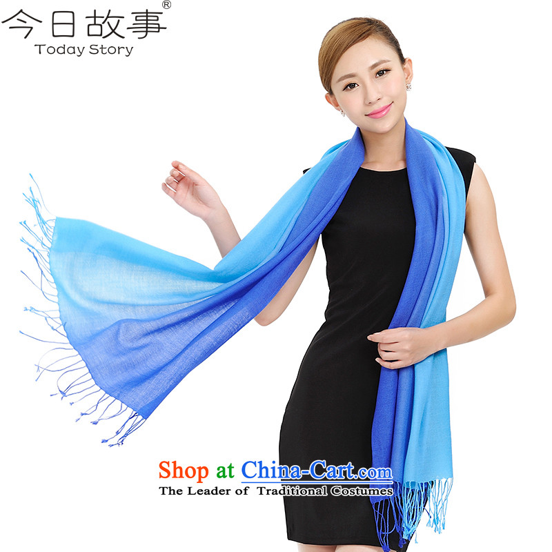 Ms. Bi-color story today wool Fancy Scarf of colors and elegant air-conditioned rooms of the chador autumn and winter warm large scarf J2104 dual color gradient - blue.