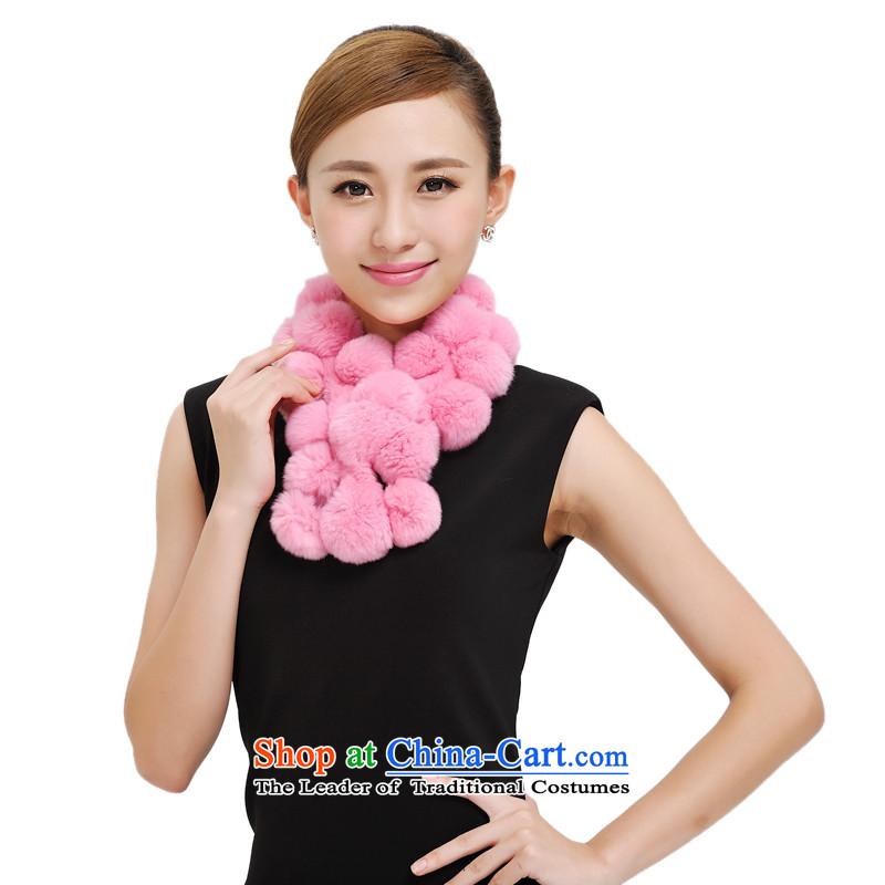 Shanghai Story autumn and winter new rabbit hair Ms. a warm, rabbit hair a scarf Korean 28 rabbit hair ball fur muffler female 177033 Pink