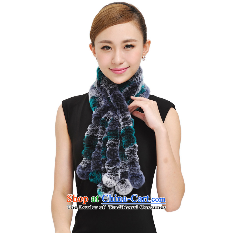 Shanghai Story rabbit hair scarf autumn and winter new Rabbit fur grass process, a Korean version of the seven rainbow wild stylish girl 177034 scarves warm blue and gray