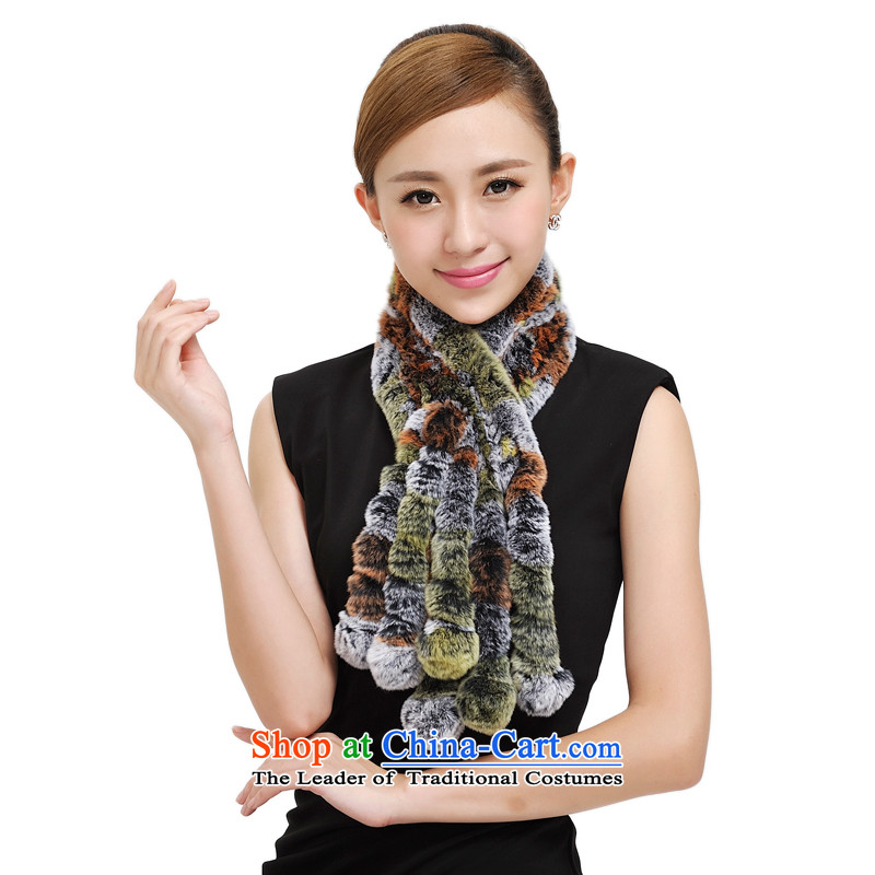 Shanghai Story rabbit hair scarf autumn and winter new Rabbit fur grass process, a Korean version of the seven rainbow wild stylish girl 177034 scarves warm orange