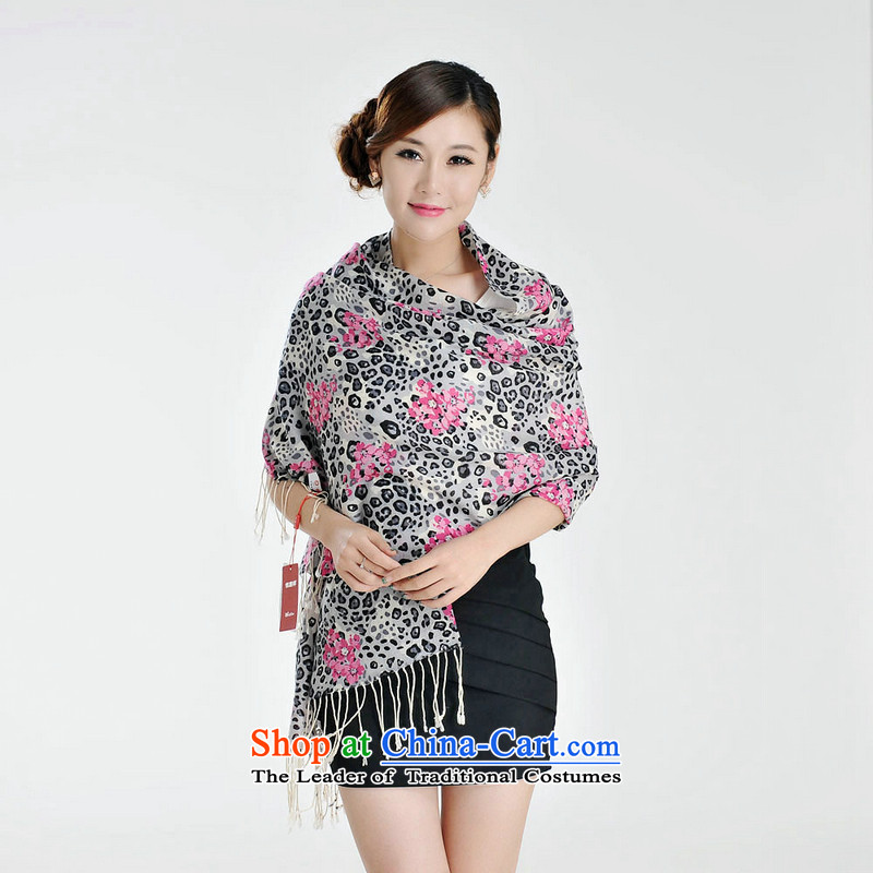 Hengyuan Cheung great woolen scarves stamp long flowers were Dz-wp319 Peach Bottom Leopard point M 1149-3 fine gift box m Gray