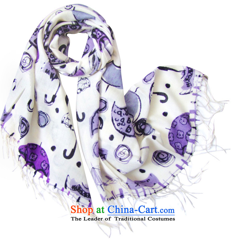 Hengyuan Cheung great woolen scarves stamp long flower umbrella gray purple childhood Dz-wp319 exquisite gift box gray Purple