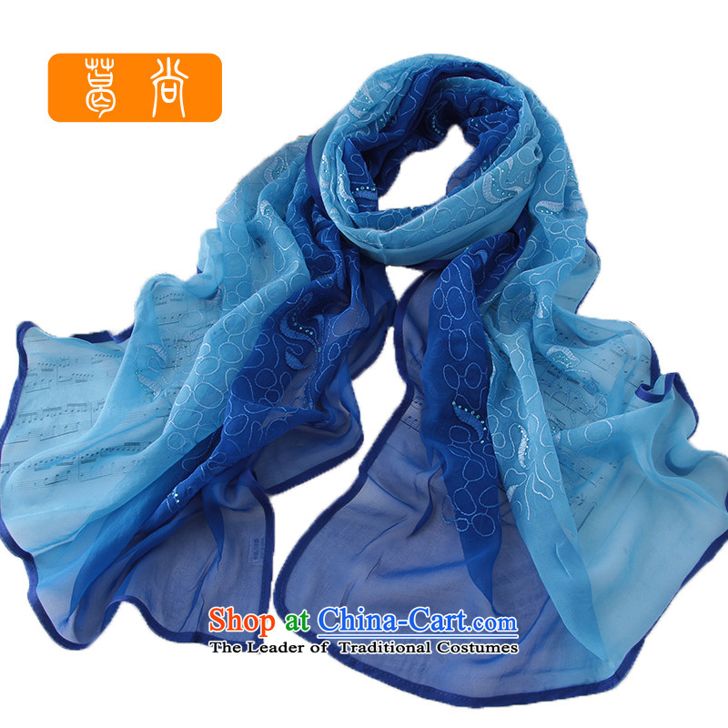 Ge Sang the new Silk side of the drill embroidery long towel ironing pure color gradient herbs extract towel embroidery聽W4021 lines,聽blue and green gradient are code