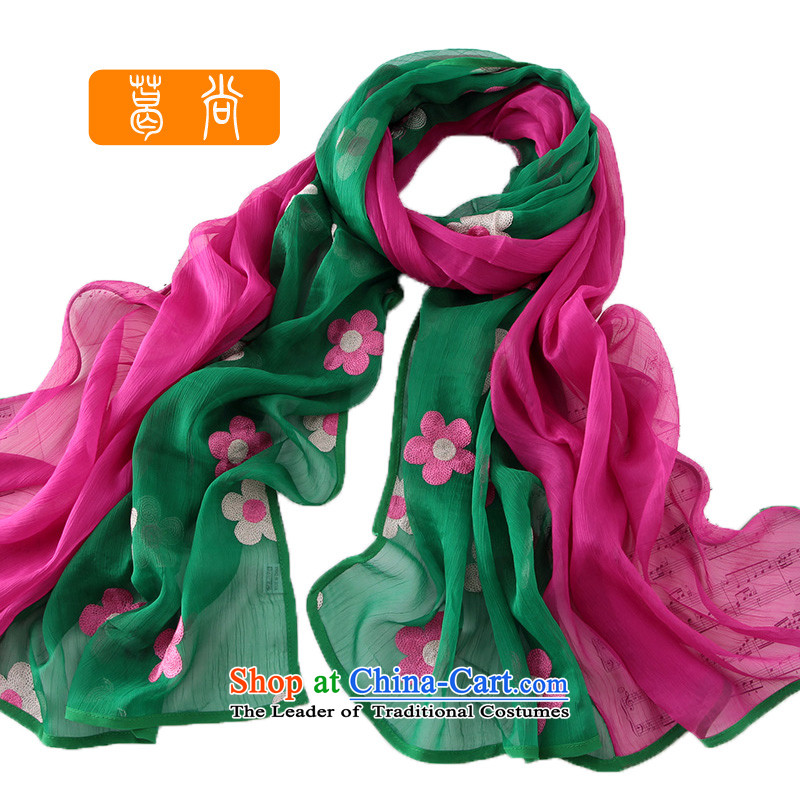Ge Sang the2014 Winter rectangular scarf silk scarf embroidery stylish ancient style of silk shawlsW4023 girlin red are green + Code