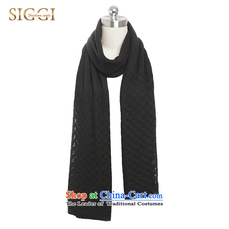 Siggiscarf female autumn and winter wild korea knit cashmere sweater long thick winter scarves Pure Color with Black two shawls about 190_64.5CM